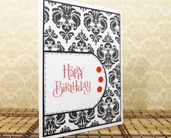 elegant birthday greeting card in black white and red