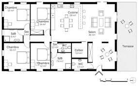 plan de maison de plain pied avec 4 chambres plan maison plain pied 4 chambres avec suite parentale amazing plan