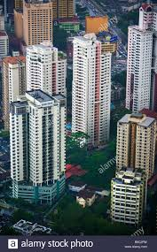 malaysia kuala lumpur view from kl tower on residential flats