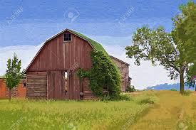 a digitally created painting of an old farm with barn house