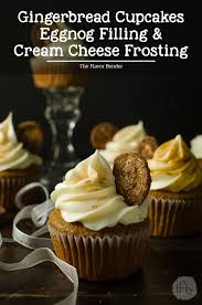 gingerbread cupcakes with eggnog filling and cream cheese frosting