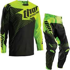 ebay motocross helmets thor core 2016 hux black flo green motocross kit shirt trousers mx