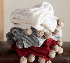 Pottery Barn Fur Blanket Faux Fur Pom Pom Knitted Throw Pottery Barn Au