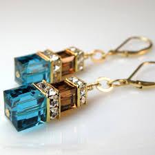 Aegean Chandelier Earrings Turquoise Blue Teal And Chocolate Crystal Earrings Custom Bridal Wedding