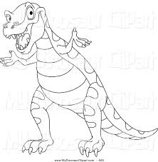 clipart of a coloring page outline design of a cute tyrannosaurus