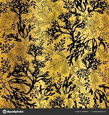 vector golden and black seaweed texture seamless pattern