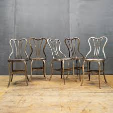 Metal Bistro Chairs 1920s Vintage Industrial Uhl Metal Dining Cafe Bistro Chairs Five