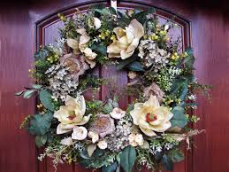 decor traditional magnolia wreath with wooden front door and