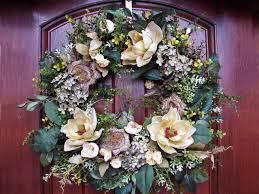 Wreath For Front Door Decor Traditional Magnolia Wreath With Wooden Front Door And