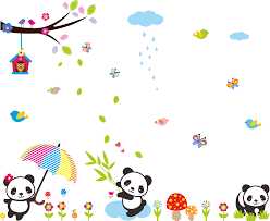 cute panda tree butterfly wall stickers animals nursery wall panda tree butterfly wall stickers 2 for 20