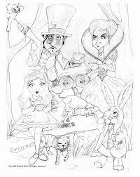 trippy coloring pages fantasy cartoons alice