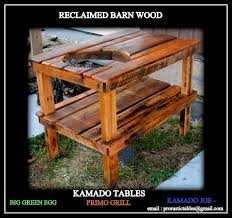 kamado joe grill table plans big green egg primo grill reclaimed barn wood tables youtube