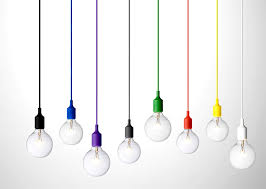 light bulb hanging with colorful small pendant decoration bar
