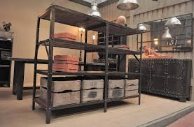 vintage industrial metal and wood shelving unit for sale at pamono
