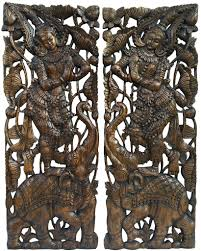 carved wood sawaddee thai figure and elephant panel asian home