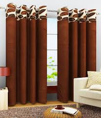 Eyelet Curtains Homefab India Set Of 2 Window Eyelet Curtains Solid Brown Buy