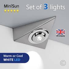 details about 3 x led triangle plug in under kitchen cupboard