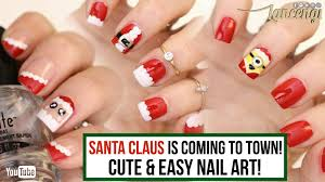 diy cute u0026 easy christmas nail polish designs santa claus nails