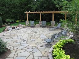 Granite Fire Pit by Bluestone Patio With Flagstone And Granite Fire Pit