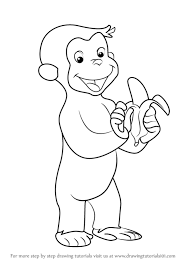 learn draw curious george monkey curious george step
