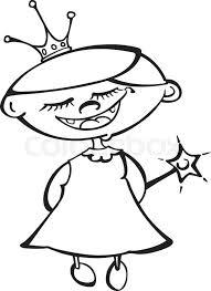 cute cartoon fairy princess black white outline colouring