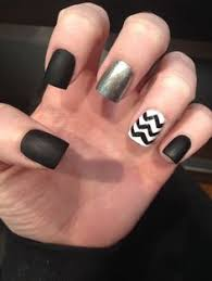 matte black nails with one glitter nail fashion pinterest