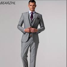mens light gray 3 piece suit 2017 men suits slim fit custom made suit groom tuxedo light gray 3