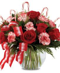 Vase With Roses Peppermint Posies Roses Carnations And Candy Canes In Bubble