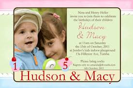 brother and sister photo birthday invitations and thank you cards