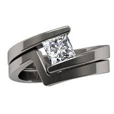 bluelans wedding band ring stainless steel matte ring etoile square solitaire solitaire gem womens rings titanium