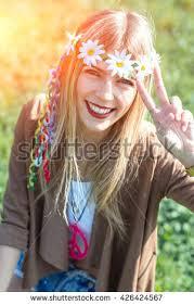 hippie style hippie style girl peace sign vintage stock photo 426424567