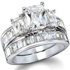 emerald cut wedding set julianne s emerald cut cz wedding ring set