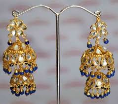 lotan earrings kundan lotan earrings with royal blue j0417 j0417