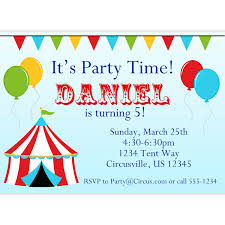 circus carnival invitation red big top tent balloons and