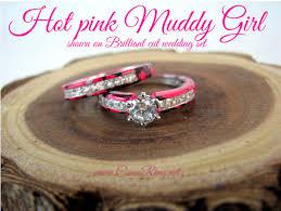 pink camo wedding rings camo brilliant cut wedding set camoring
