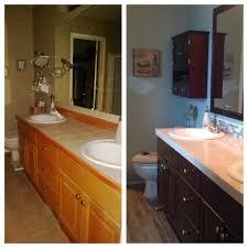 diy bath remodel java gel stained cabinets benjamin moore sea