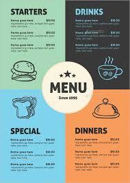 100 publisher menu template free food menu template restaurant