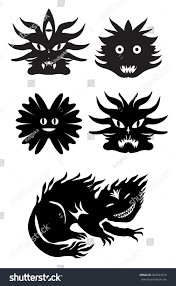 monster tribal tattootshirt design halloween icons stock vector