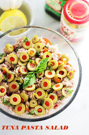 pasta salad with tuna tuna pasta salad with pimiento stuffed olives recipe diethood
