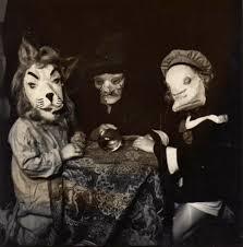 happy halloween costumes in vintage photographs