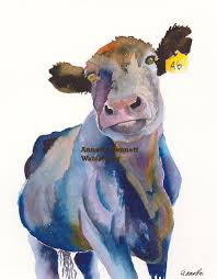 cow print cow artwork cow watercolor cow painting cow