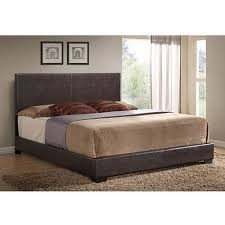king size bed faux leather bed frame upholstered brown headboard