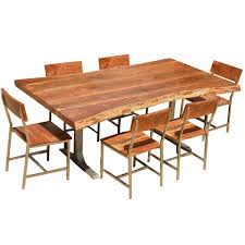 Living Edge Dining Table by Solid Wood Rustic Live Edge Dining Table U0026 Chairs Set