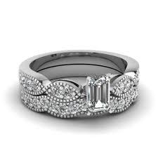 emerald cut wedding set emerald cut diamond milgrain weave wedding set in 14k white gold