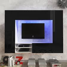 black white black high gloss entertainment center led tv wall unit