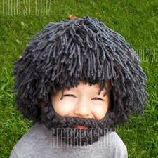 Men And Women Baby Shower - woolen yarn imitated wig embellished knitted beanie for men and