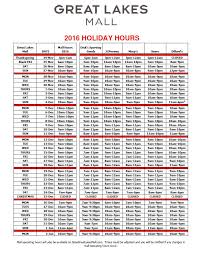 great lakes mall hours best 2017