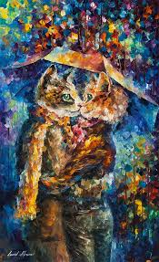 cat kiss palette knife oil painting on canvas by leonid afremov