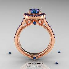 Wedding Rings Rose Gold by Caravaggio 14k Rose Gold 2 0 Ct Chrysoberyl Alexandrite Engagement