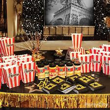 movie theater popcorn bar decorating idea red carpet hollywood